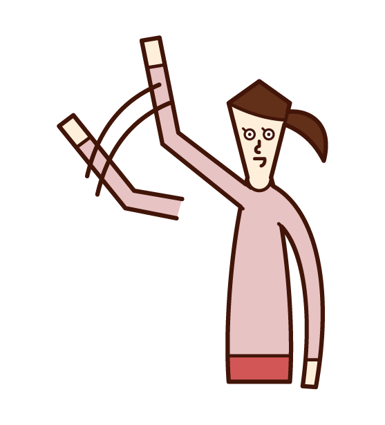 Illustration of a woman waving a big hand