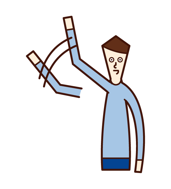 Illustration of a man waving a big hand
