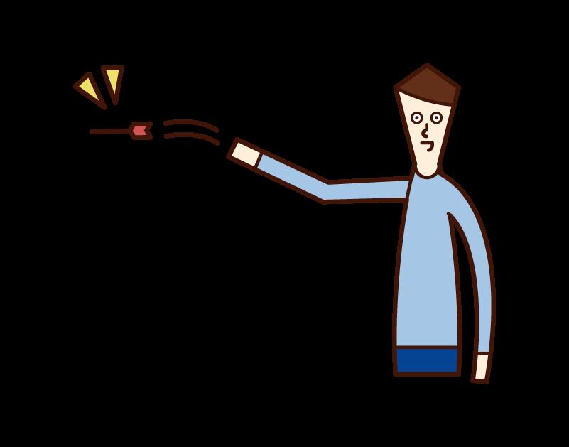 ダーツをする人(男性)のイラスト