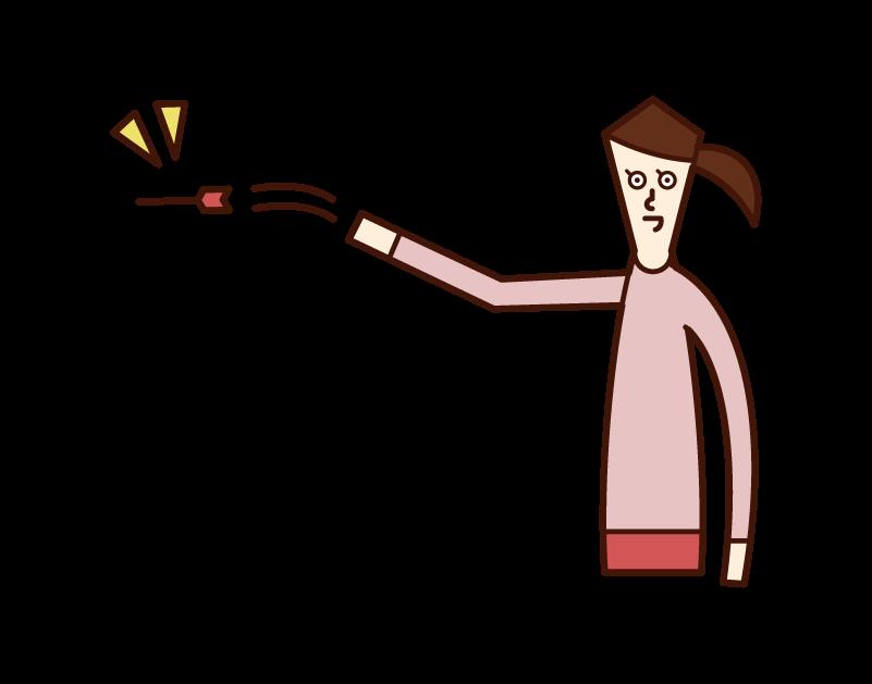 ダーツをする人(女性)のイラスト