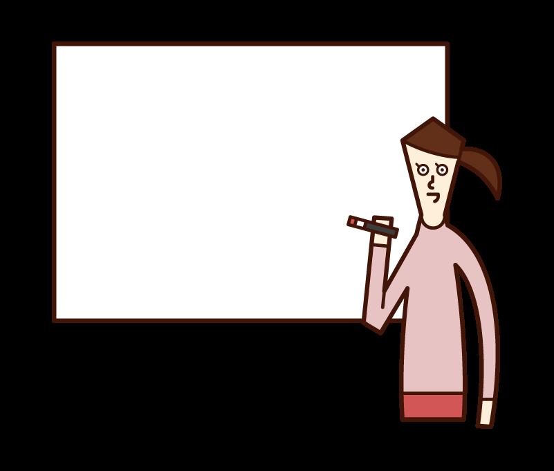 ホワイトボードに文字を書く人(女性)のイラスト