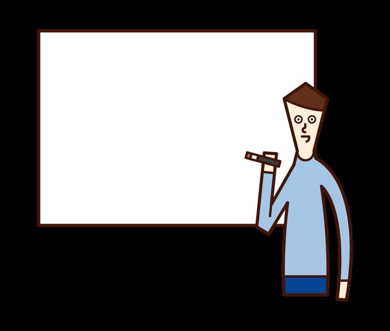 ホワイトボードに文字を書く人(男性)のイラスト