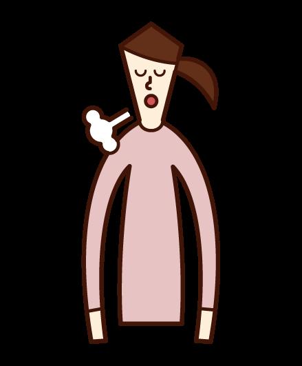 ため息をつく人(女性)のイラスト