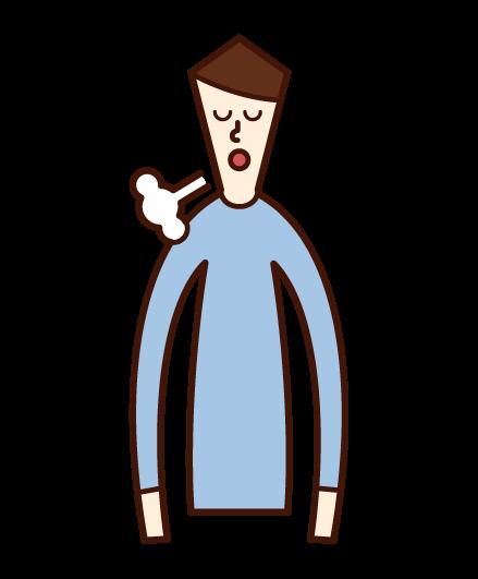 ため息をつく人(男性)のイラスト