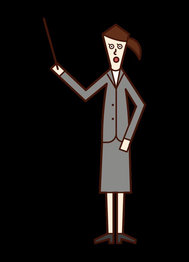指示棒を持って説明する人(女性)のイラスト