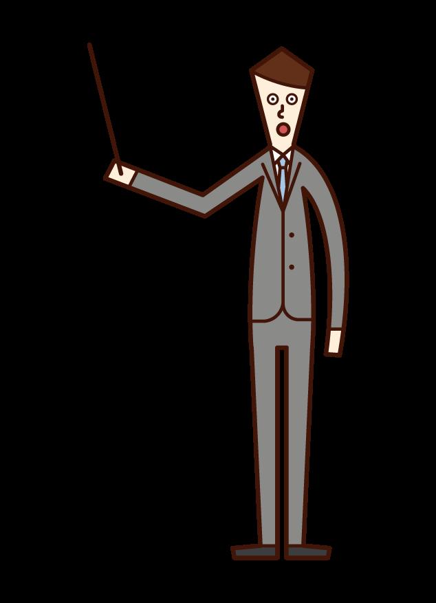 指示棒を持って説明する人(男性)のイラスト