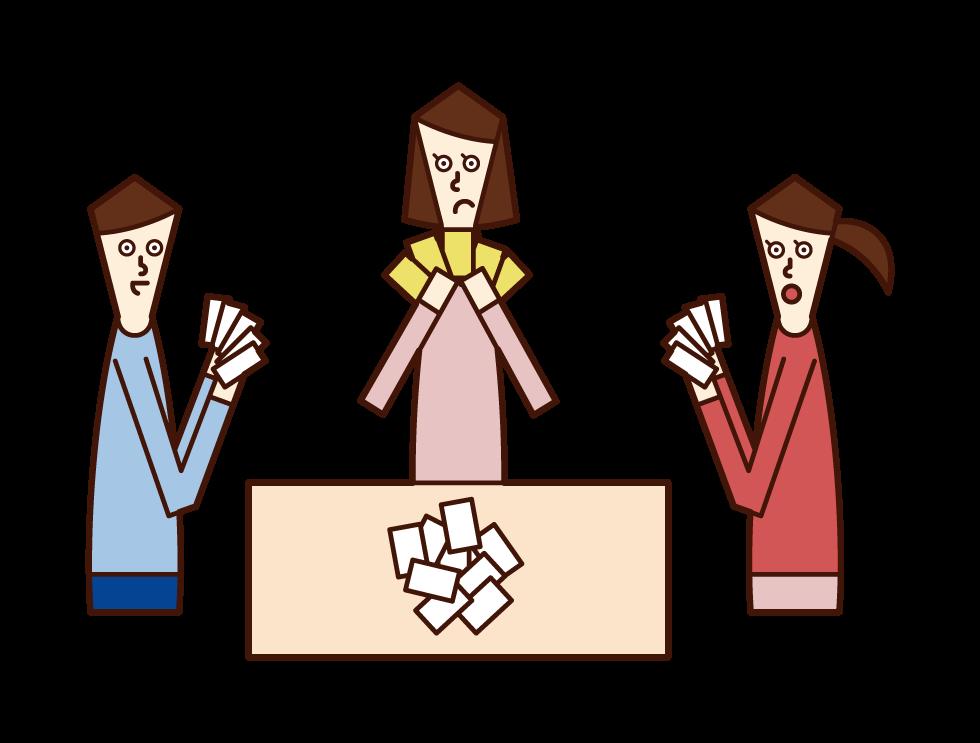 カードゲームを楽しむ人のイラスト