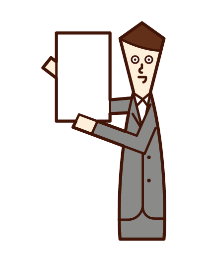 Illustration of a man in a suit holding up a message board