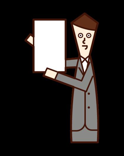 メッセージボードを掲げる人(スーツ姿の男性)のイラスト