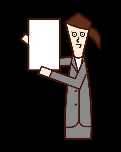 メッセージボードを掲げる人(スーツ姿の女性)のイラスト