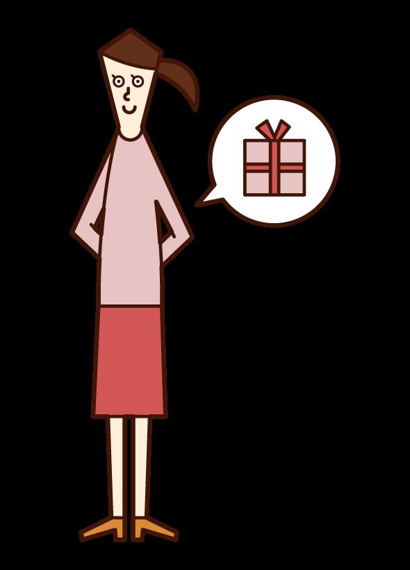 隱藏禮物的人(女性)的插圖