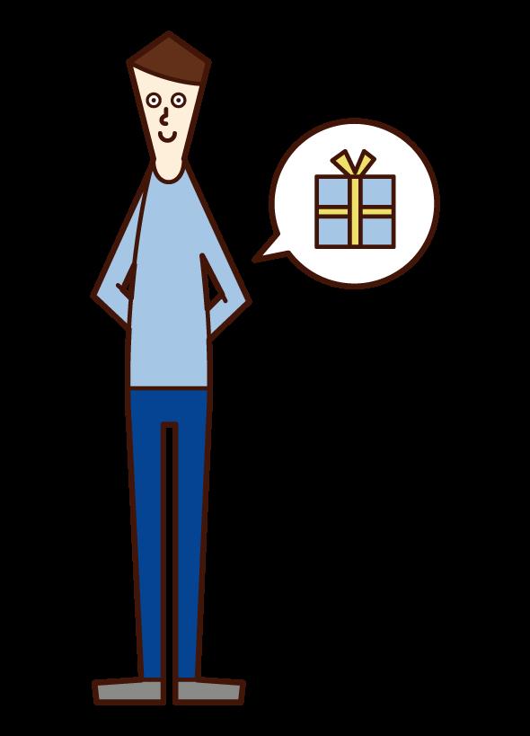 隱藏禮物的人(男性)的插圖
