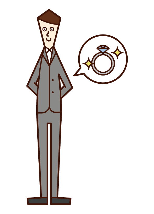 Illustration of a man in formal dress who is going to hand over a ring
