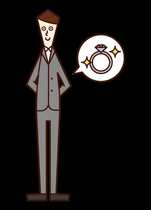 指輪を渡す予定の人(正装姿の男性)のイラスト