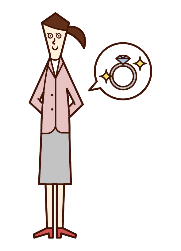 Illustration of a person (a woman in formal dress) who is going to hand over a ring