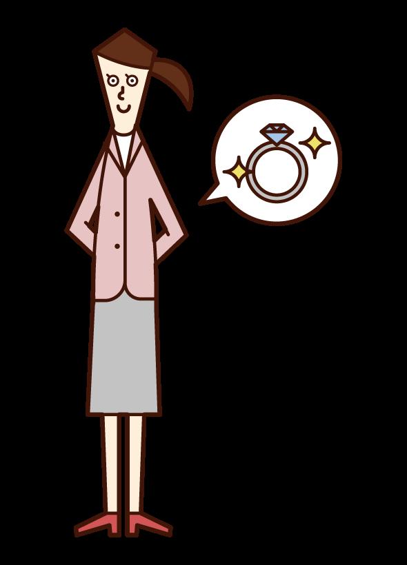 指輪を渡す予定の人(正装姿の女性)のイラスト