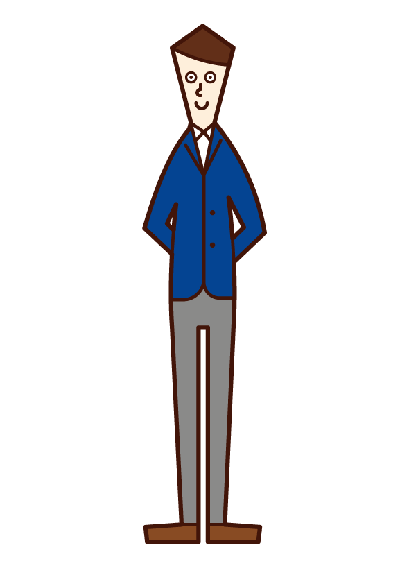 Illustration of a man joining hands behind him