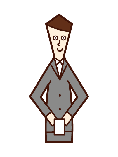 Illustration of a man exchanging business cards
