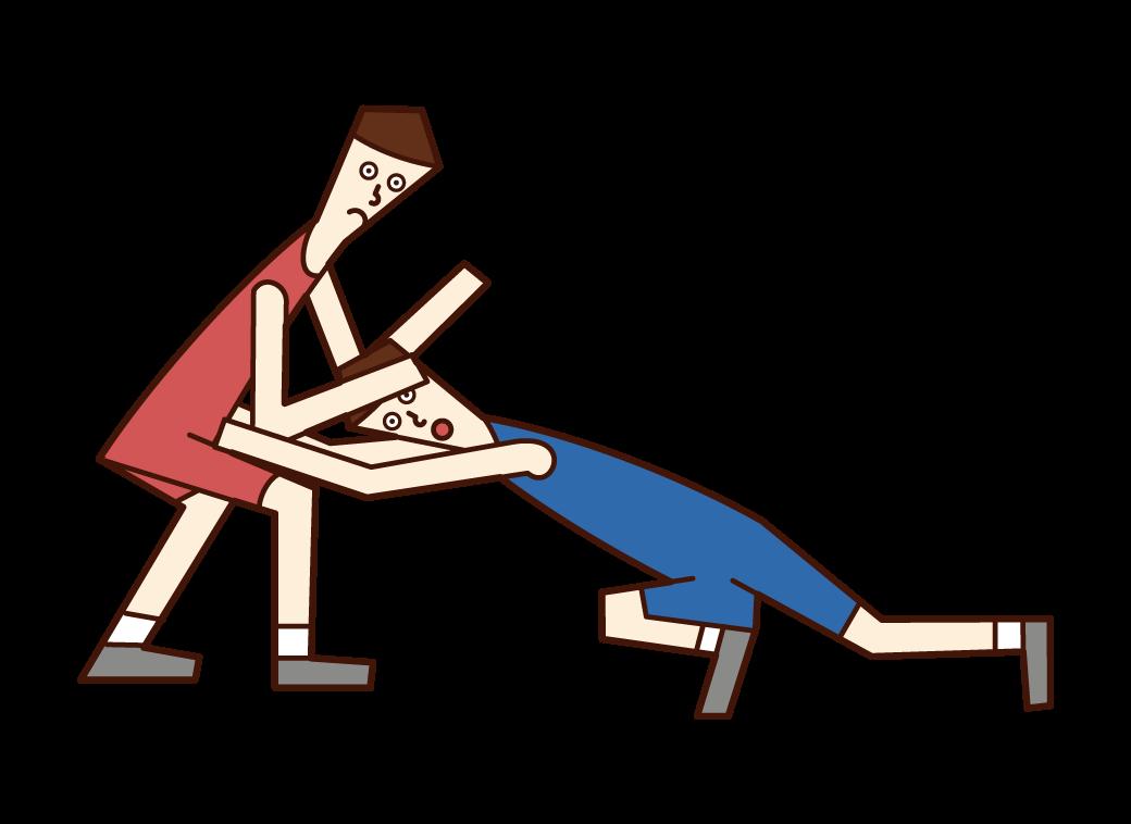태클을 하는 레슬링 선수(남성)의 일러스트