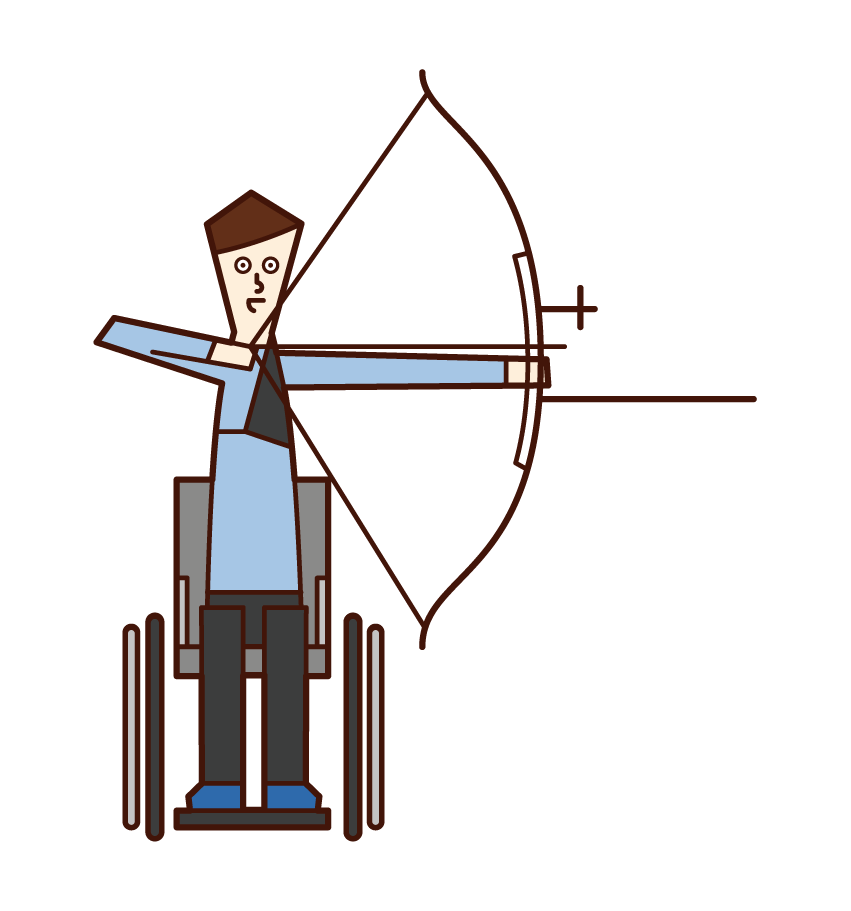Illustration of an archery player (man) sitting in a chair