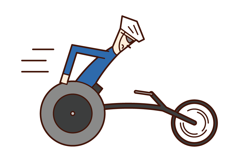 Illustration of a track and field athlete (man) in a competitive wheelchair
