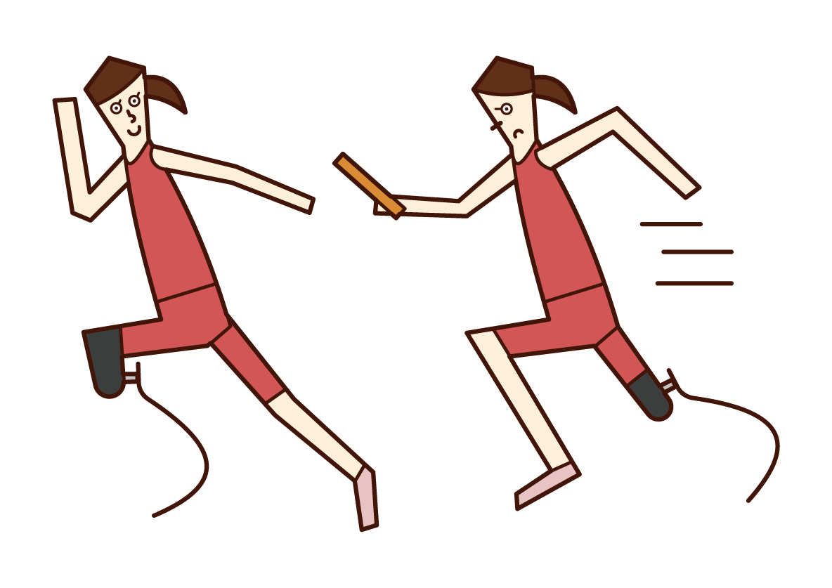 Illustration of a relay player (woman) with a prosthetic leg