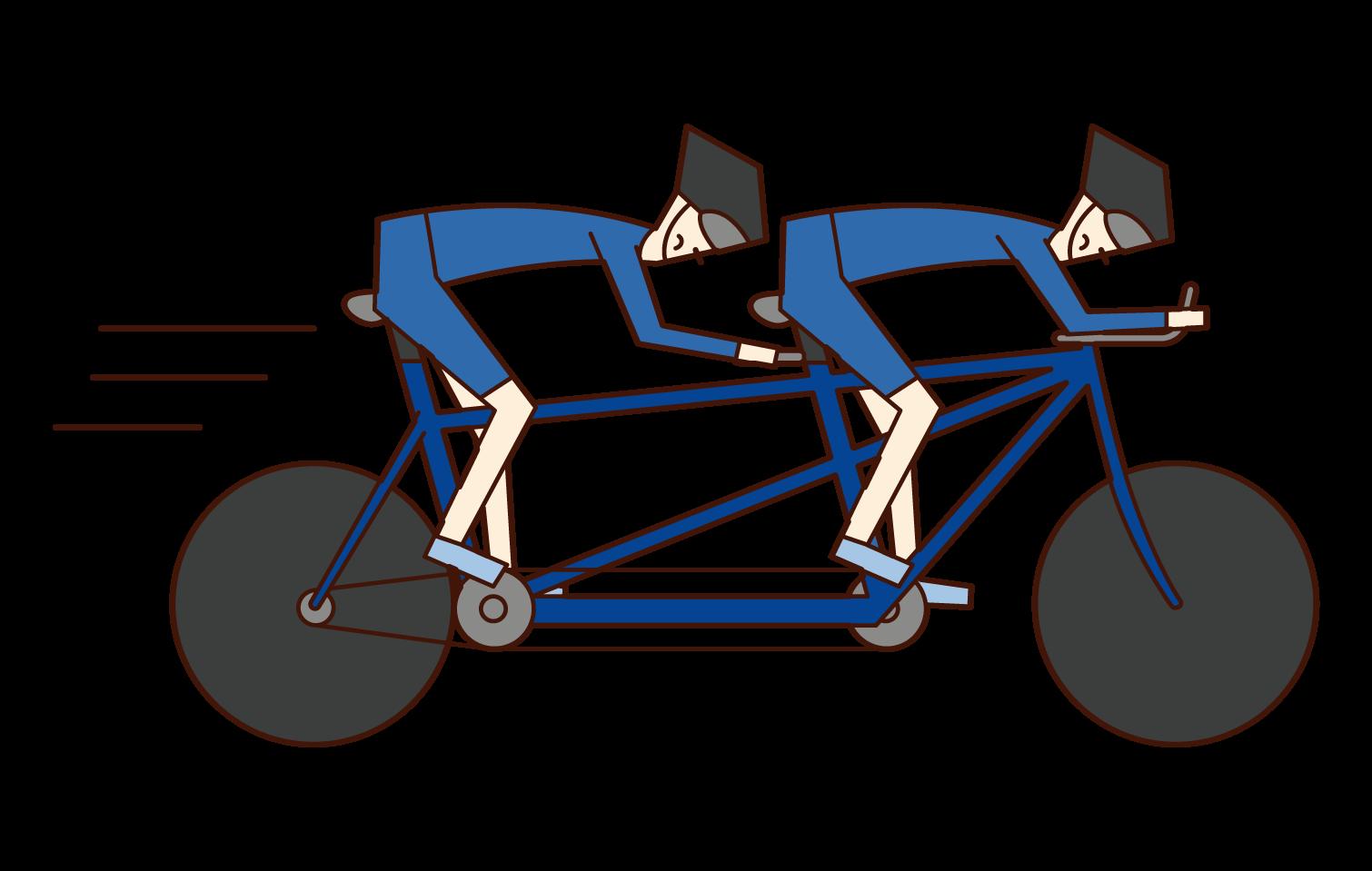 殘奧會自行車運動員(串聯自行車男子)的插圖
