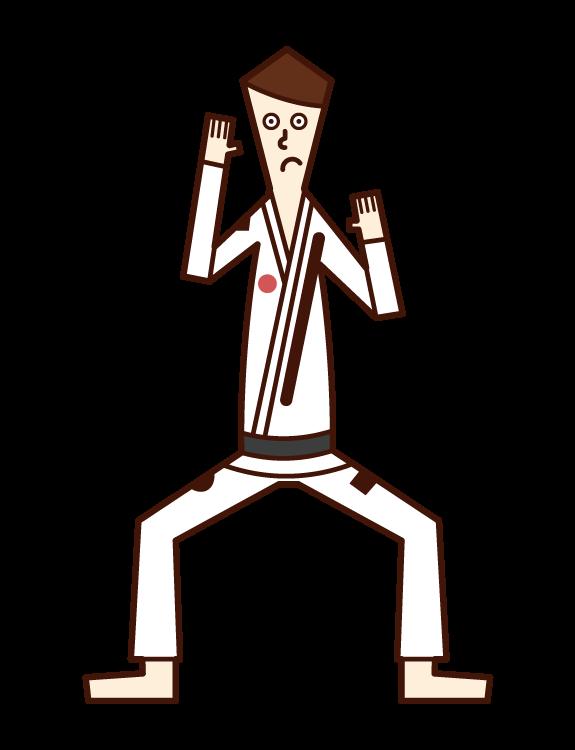 Illustration of Brazilian Jiu-Jitsu player (man)