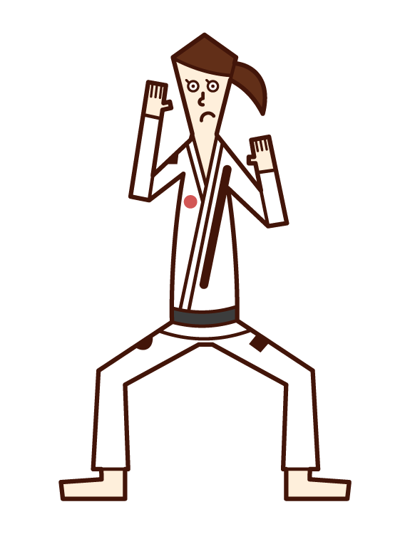 Illustration of Brazilian Jiu-Jitsu player (woman)