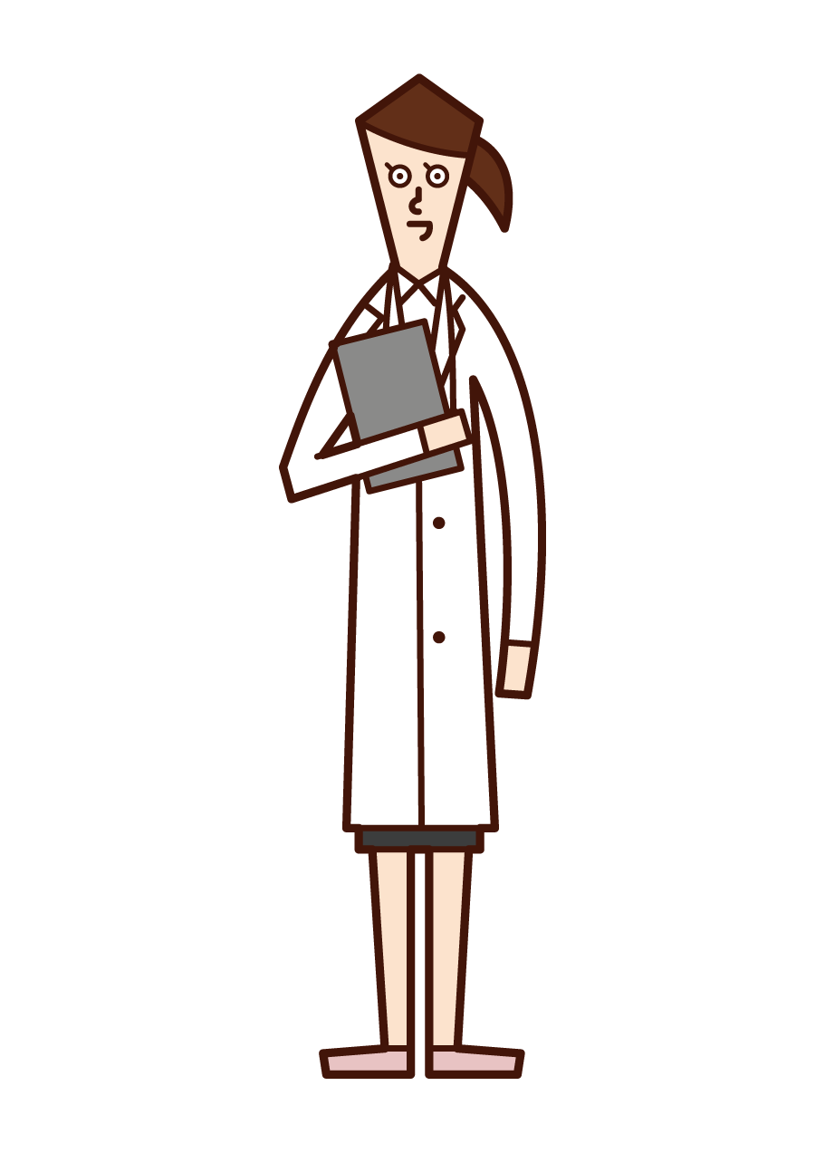 Illustration of a doctor (woman) with a medical record