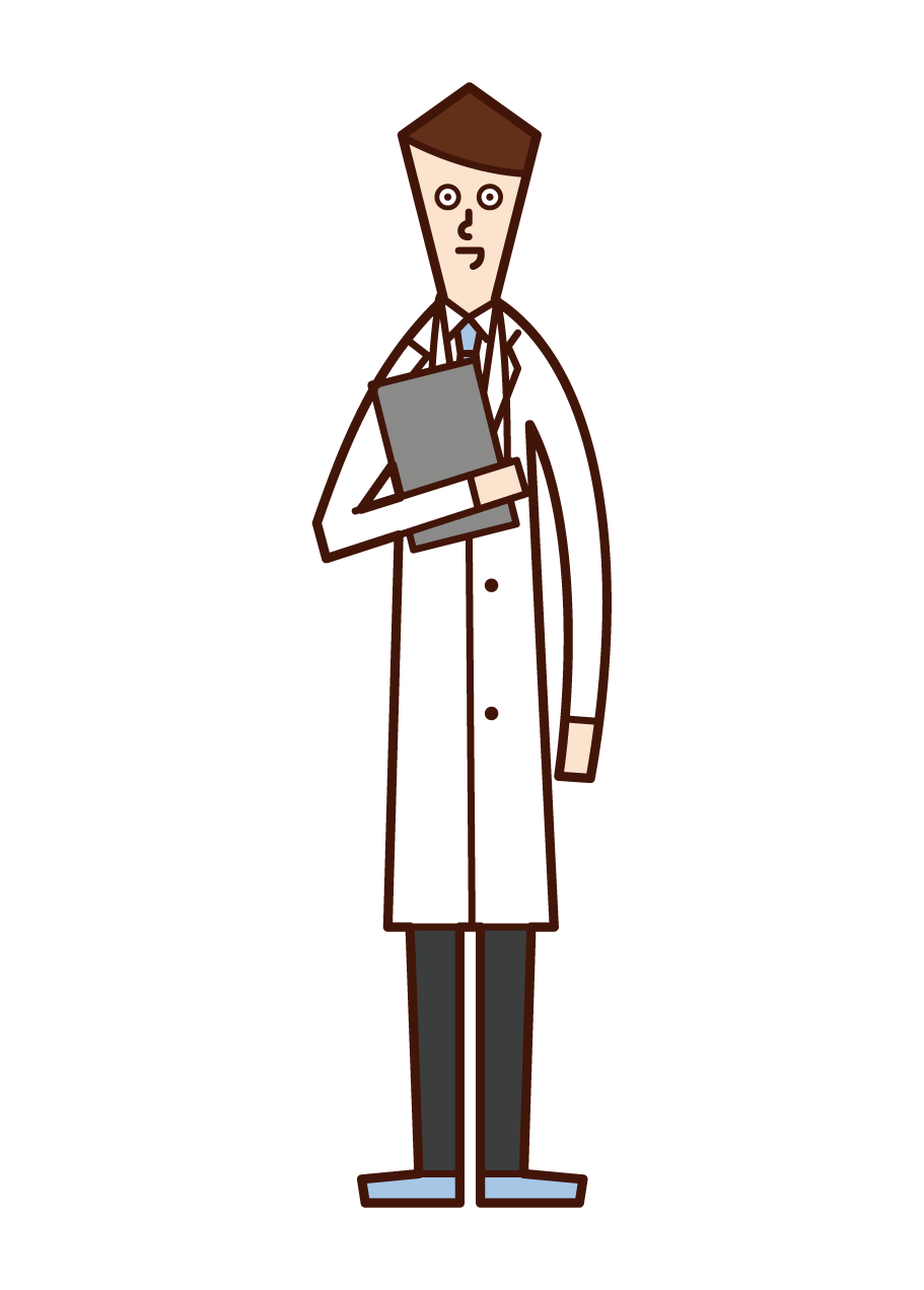 Illustration of a doctor (man) with a medical record