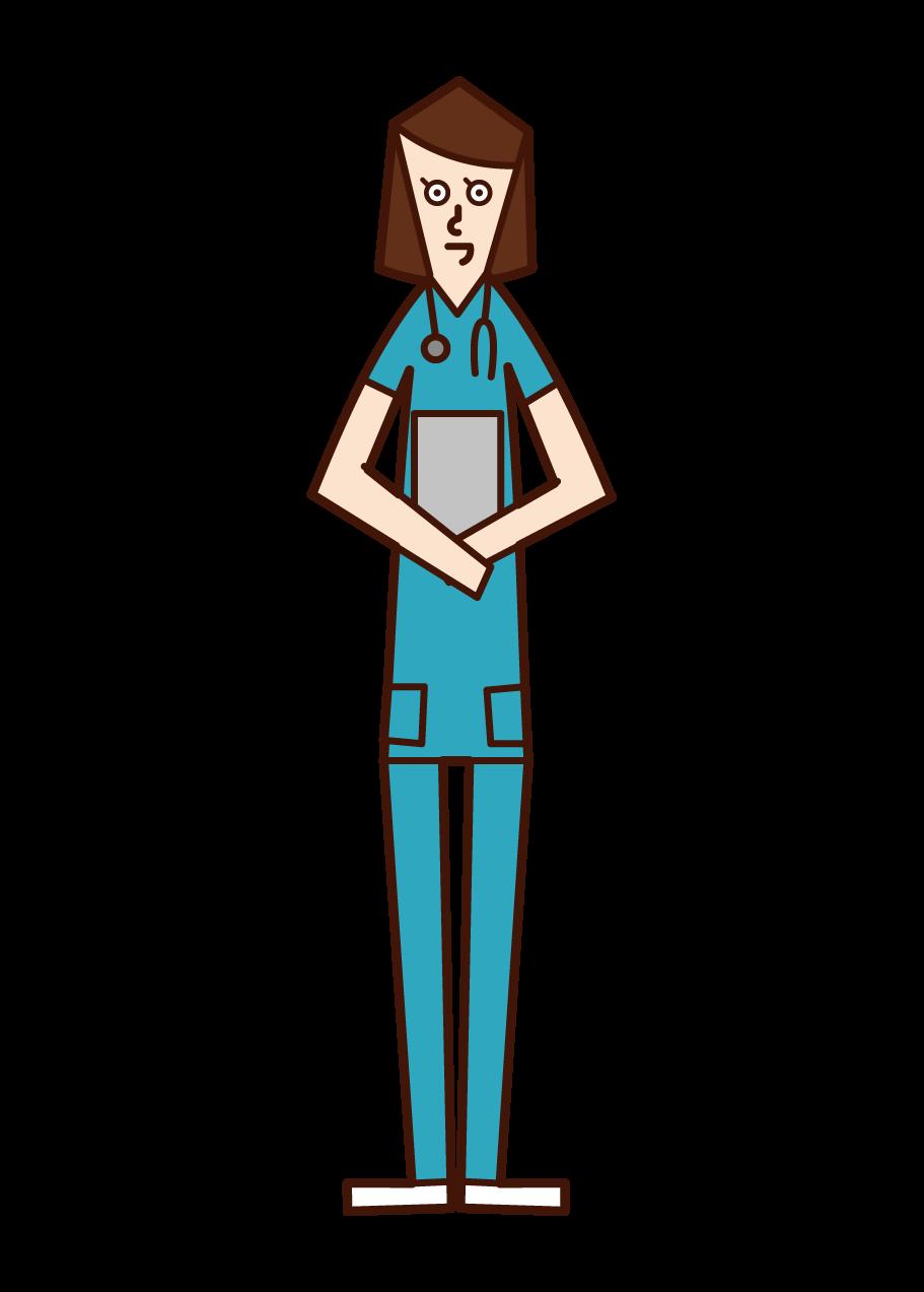 간호사의 일러스트(파란색 간호사 옷을 입은 여성)