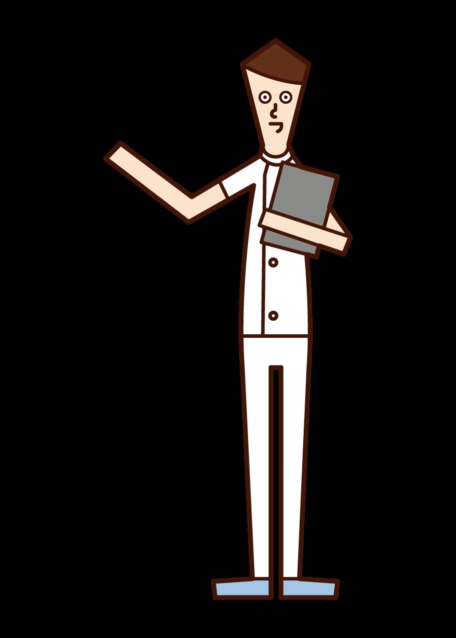 看護師(男性)のイラスト