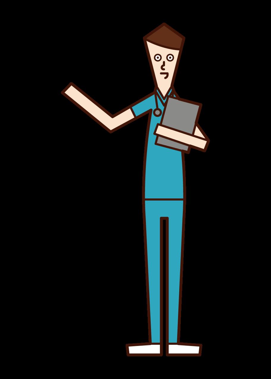 看護師(青いナース服を着た男性)のイラスト
