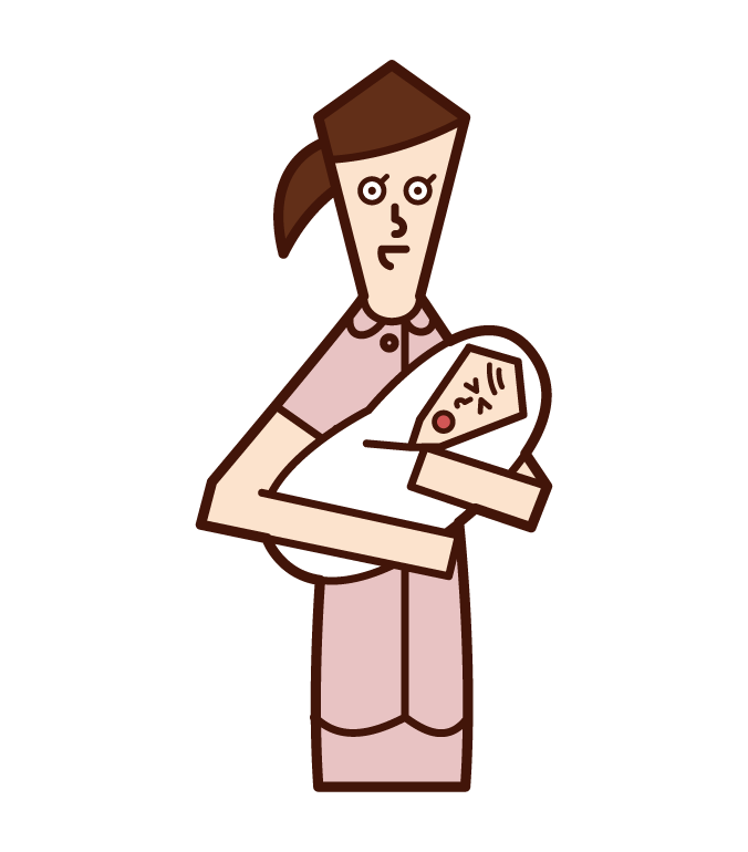 Illustration of a midwife (woman)