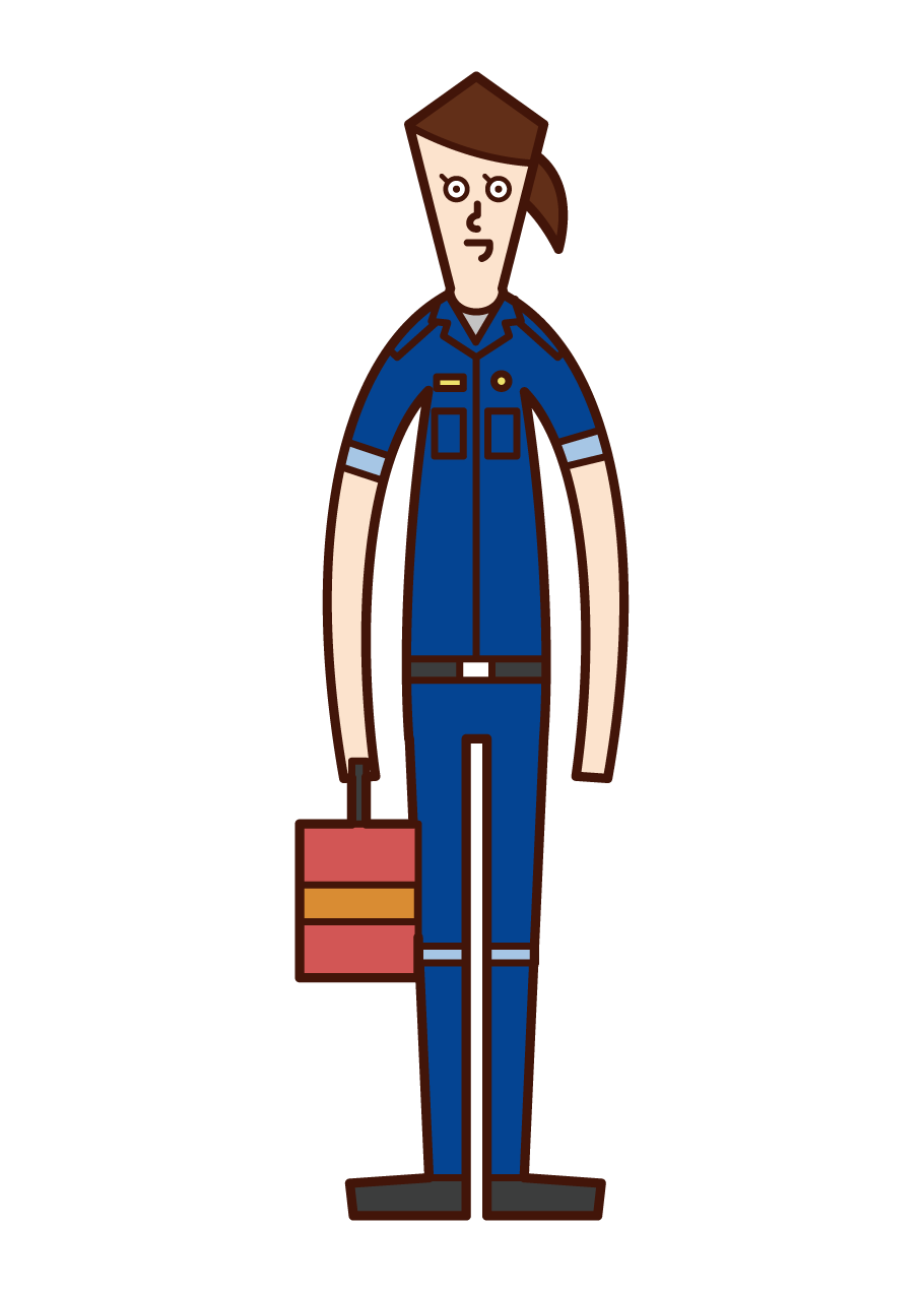 Illustration of a paramedic (a woman in a blue uniform)