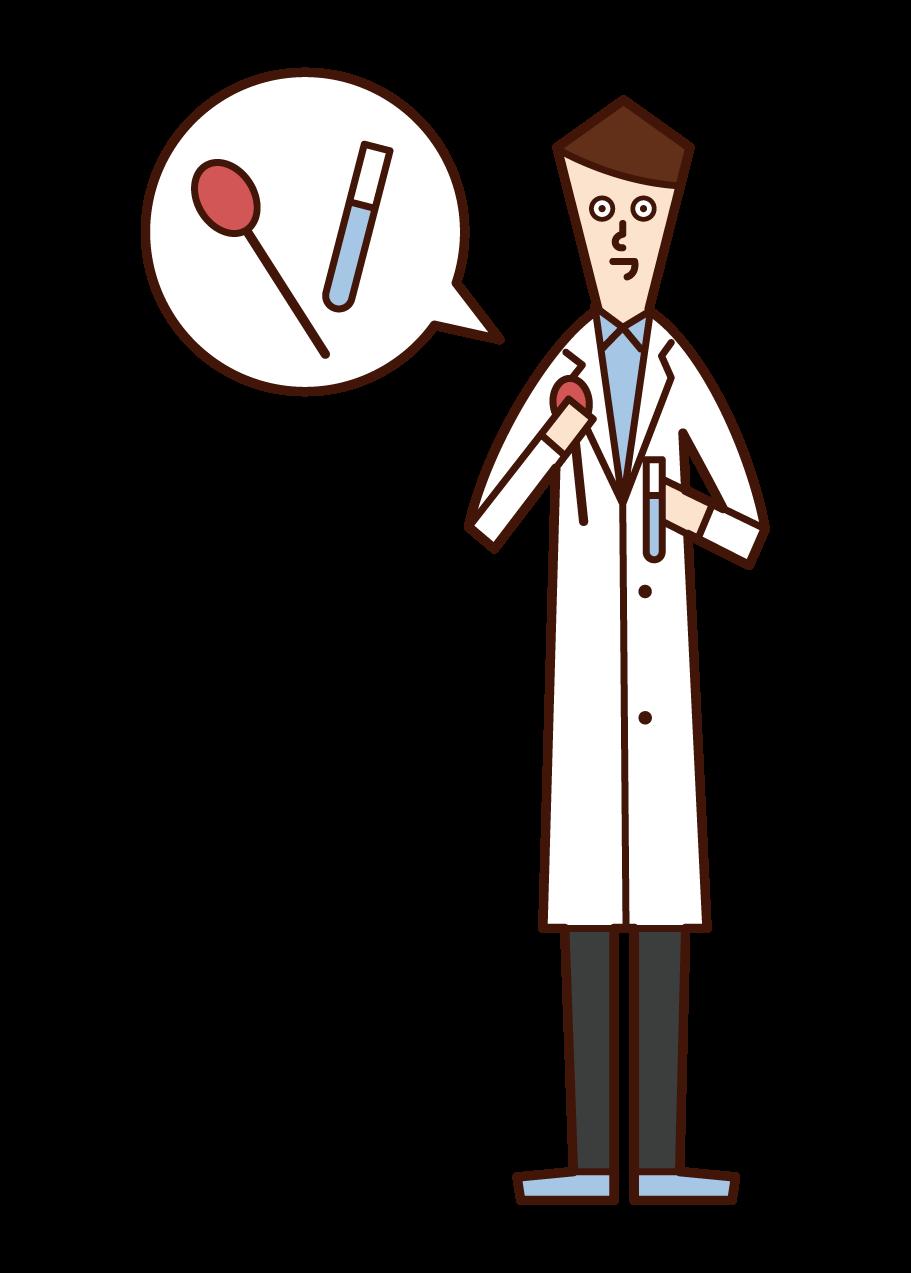 臨床検査技師(男性)のイラスト