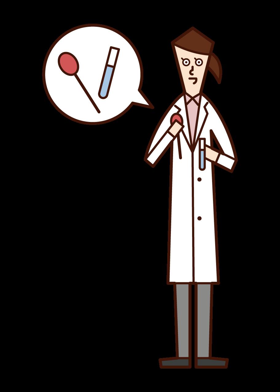 臨床検査技師(女性)のイラスト
