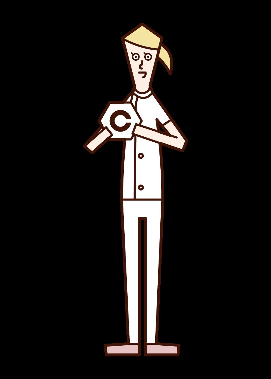 視能訓練士(女性)のイラスト