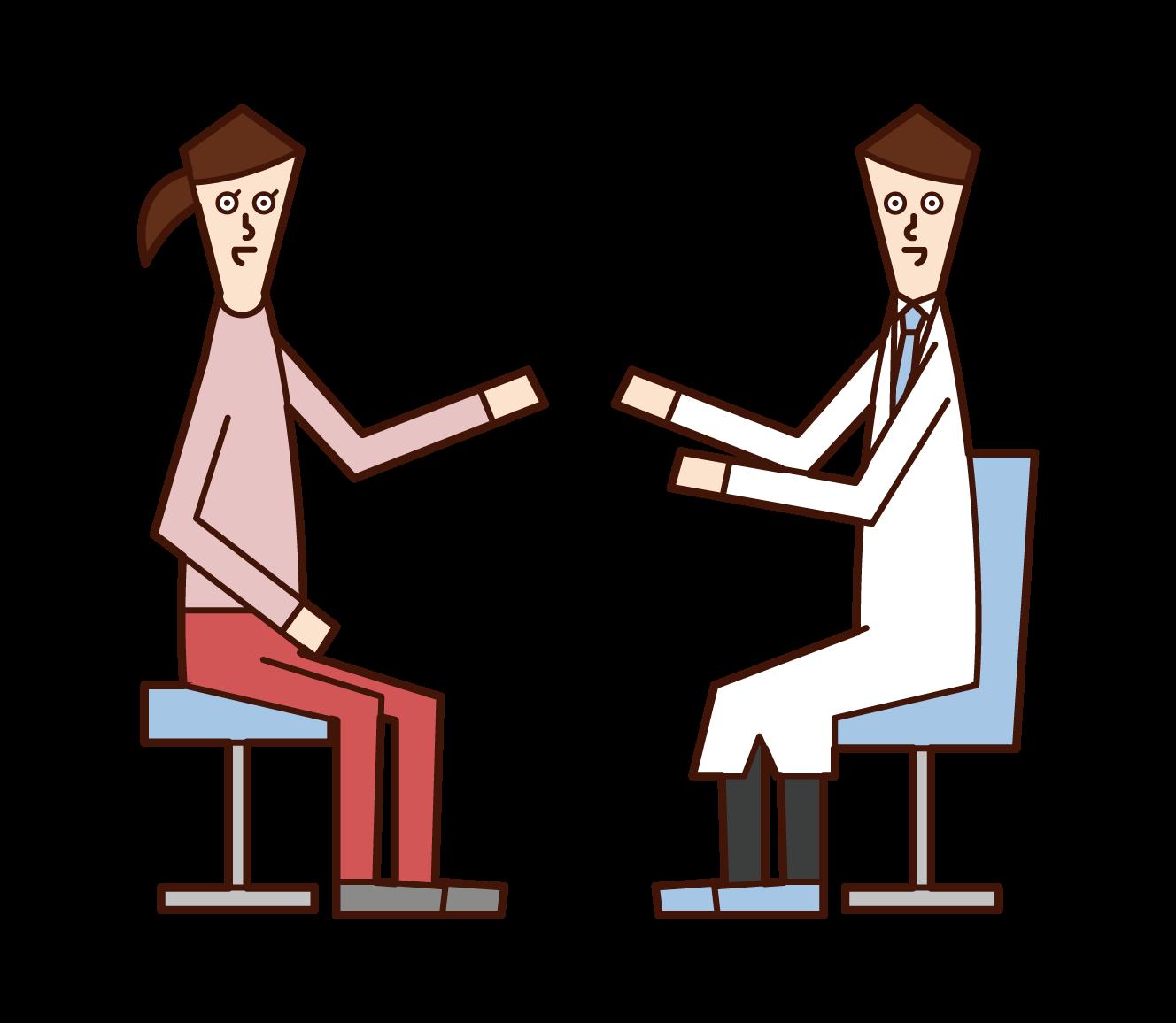 公認心理師(男性)のイラスト