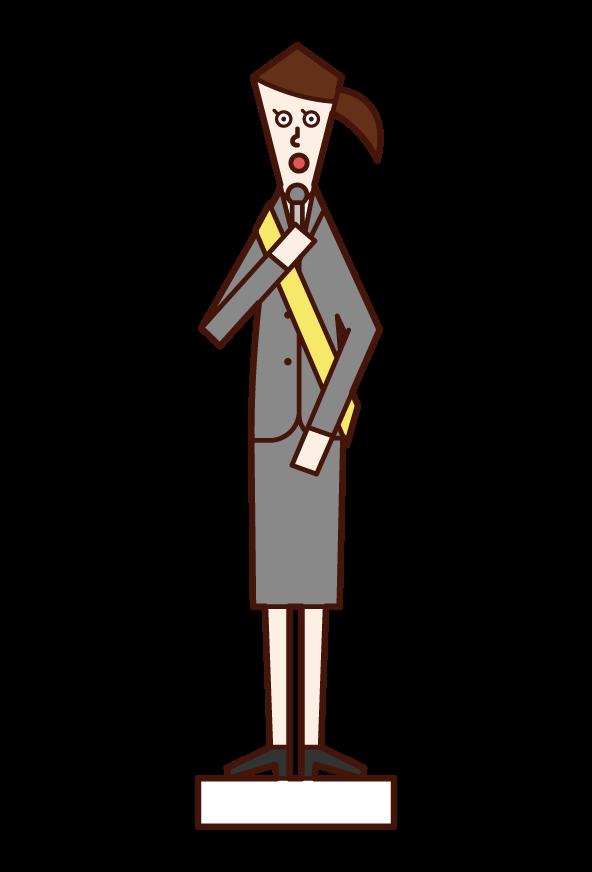 演説をする人(女性)のイラスト