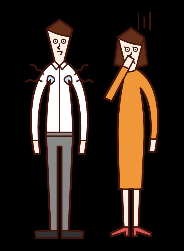 加齢臭がきつい人(男性)のイラスト