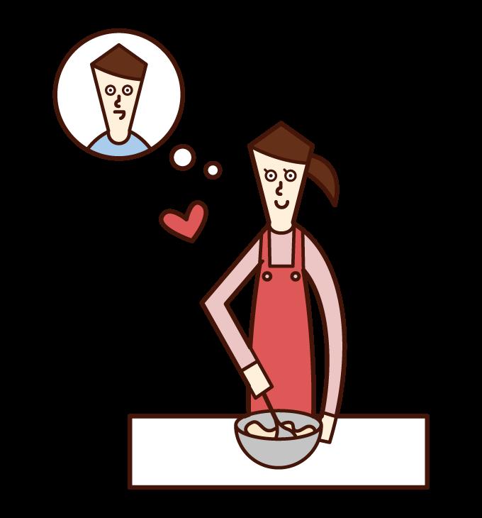 好きな人のためにお菓子を作る人(女性)のイラスト
