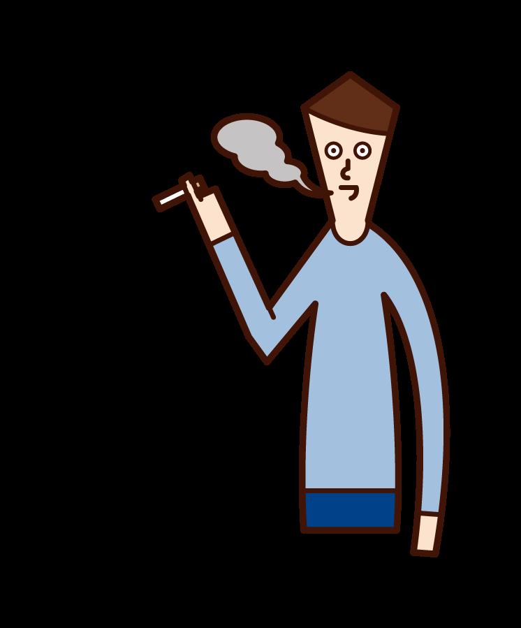 담배를 피우는 남자의 일러스트