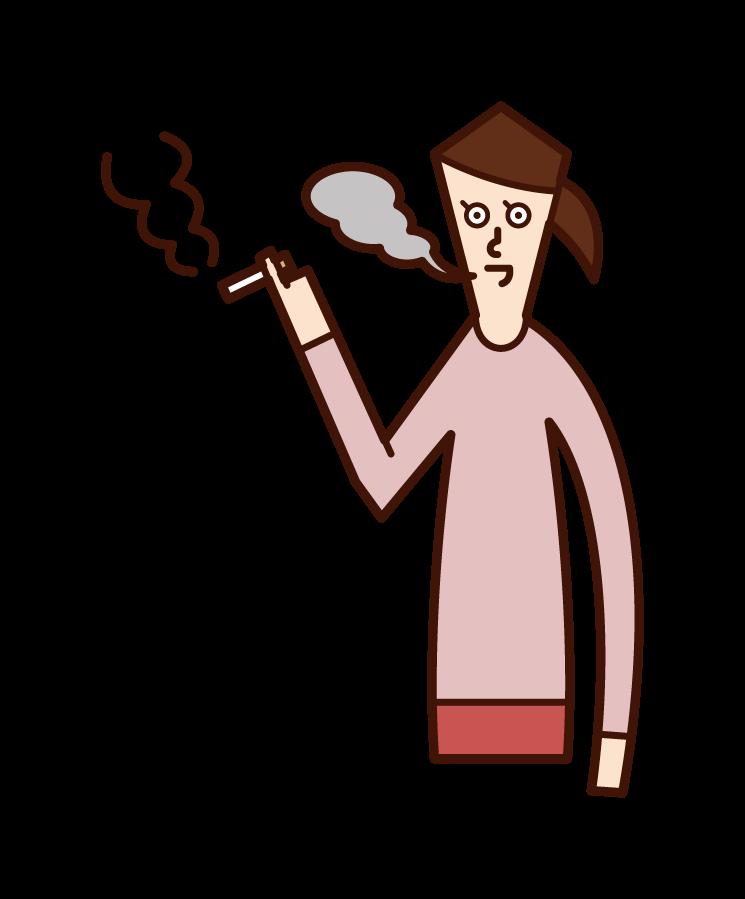 吸煙者(女性)的插圖