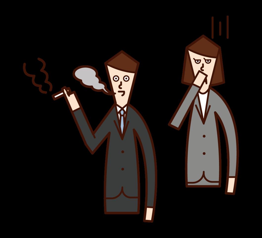 불편한 흡연을 느끼는 여성의 일러스트