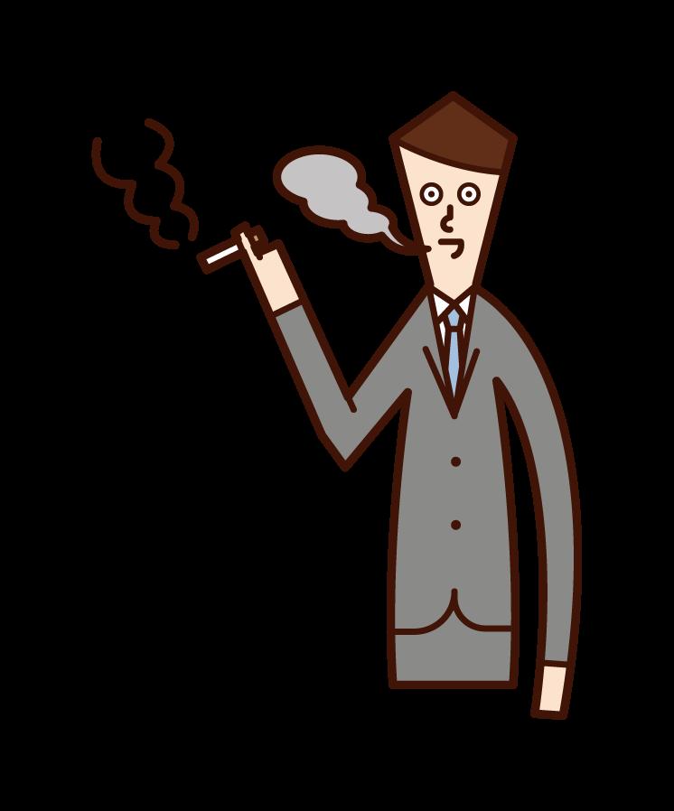 담배를 피우는 직장인(남성)의 일러스트