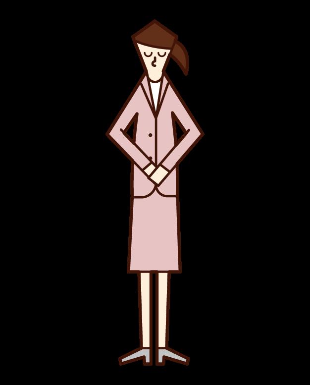 頭を下げる人(女性)のイラスト