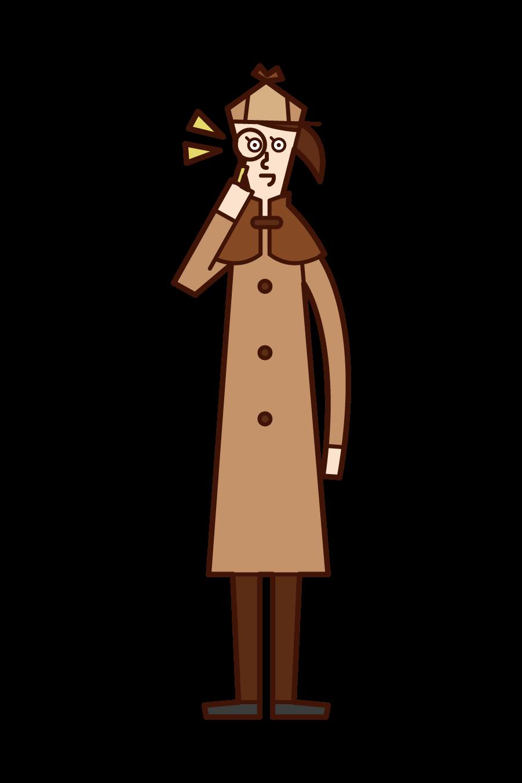 偵探(女性)插圖