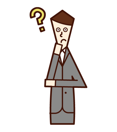 Illustration of a person who thinks and wonders (a man in a suit)